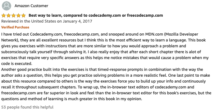 javascript 5 star book review on amazon