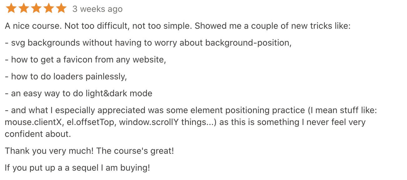latest review for the javascript project course