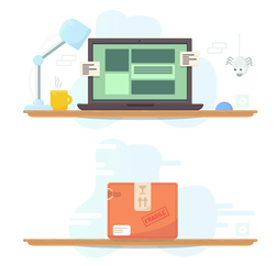 Illustration of a Computer and a package