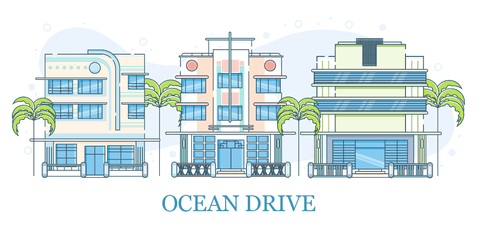 free miami-ocean-drive-illustration