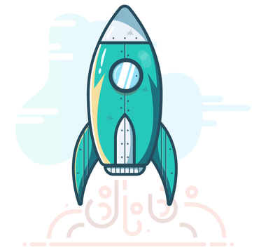 Illustration of a green rocket