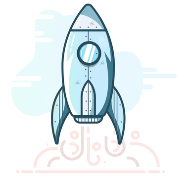 Illustration of a silver rocket