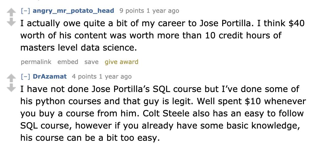 Best SQL course acc. Reddit